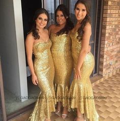 2016 Luxury Sparkly Bright Gold Tea Length Mermaid Bridesmaid Dresses Custom Make Sweetheart Backless Junior Bridesmaid Gowns Cheap Bridesmaid Dresses Long Dress From Gaogao8899, $82.93| Dhgate.Com