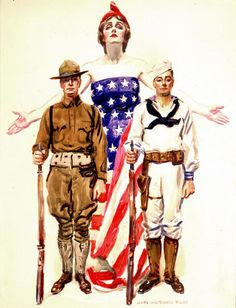 Lady Liberty, a Doughboy, and a Sailor by James Montgomery Flagg, WWI illustration of Us Navy Recruiting, American Freedom, American Flag, American Pride, Don Delillo, Patriotic Images, Propaganda Art, American Illustration, Military Art