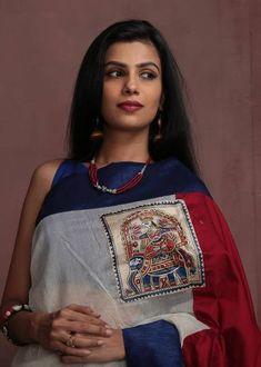 White Chanderi & Red cotton Silk with hand painted madhubani work Saree Painting, Dress Painting, Fabric Painting, Hand Painted Sarees, Hand Painted Fabric, Saree Blouse Patterns, Saree Blouse Designs, Cotton Saree, Cotton Silk