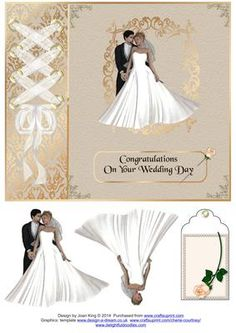 Wedding Day on Craftsuprint designed by Joan King - A decoupage sheet for a wedding day. I have also provided a tag for a gift. - Now available for download!