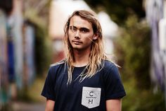 Pama in Navy Notts Pocket Tee. #pamadavies #surfer #bondi #menswear #tee #clothing