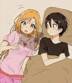 Kirito and Asuna in bed together asunaxkirito swordartonline Kirito Asuna, Online Anime, Online Art, Cute Anime Coupes, Sword Art Online Wallpaper, Sword Art Online Kirito, Art Manga, Accel World, Shadow Art