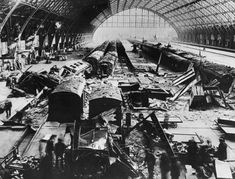 St. Pancras Station after a night-time bombing raid Picture: Fox Photos/Getty Images How the ruined streets of London have been transformed since the aftermath of WWII