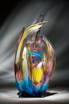 Blue Orchid glass art