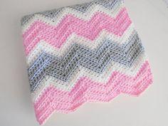 Crib Size Crochet chevron baby blanket in soft pink, white and light grey