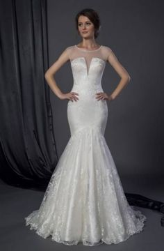 robe de mariée sirène en satin brodé