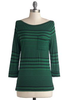 Afternoon on the Lawn Top. Taking advantage of the beautiful weather, you head to the park and select a spot in the grass thats just as gorgeously green as the rich hue of your pocketed, boatneck top! #green #modcloth