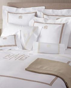 3 Line Embroidered and Monogram Pique Bed Linens with Coordinating Luxury Sheeting #mintedandmine and #personalized #LuxuryBeddingRustic