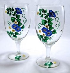Hand Painted Wine Glasses Flowers | visit craftcafe co