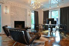 Home office reno... beautiful marble fireplace