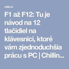 F1 až F12: Tu je návod na 12 tlačidiel na klávesnici, ktoré vám zjednoduchšia prácu s PC | Chillin.sk Microsoft Excel, Internet, Education, Windows 10, Origami, School, Technology, Origami Paper, Schools