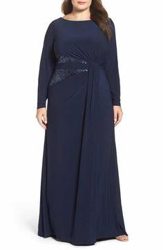 Adrianna Papell Sequin Inset Jersey Gown (Plus Size)