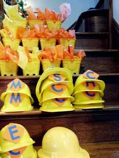 Construction-themed party - everyone gets a hard hat! #kidsparty