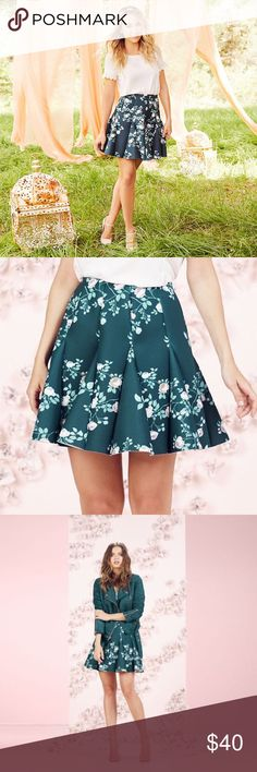 """LAUREN CONRAD Runway Collection Green Scuba Skirt NWT LC LAUREN CONRAD Runway Collection green soft floral pattern and flirty godet design will give a gorgeous look with a touch of whimsy!  *Romantic Floral Print Stretchy scuba construction Unlined Approx: length 18"""", (Size 8 Waist 26""""), (Size 10 Waist 28""""), (Size 12 Waist 30""""), (Size 18 Waist 36"""") Back zipper w/hook & eye closure Polyester/spandex Machine wash  *Bundle Discounts * No Trades * Smoke free LC Lauren Conrad Skirts Circle…"""