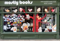 The Mostly Books shop window transformed has been transformed by 'The Dawn Chorus' author Suzanne Barton using the characters of little 'Peep' and friends from the book!