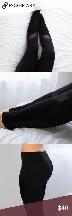 """Moto Mesh Workout Pants ◽️Workout in style with these sleek and sexy Moto Mesh Pants🏍! Amazing detailing, best quality, soft material, stretchy + breathable, non sheer. Also chic if you love athleisure wear for casual days👟. Stretch waistband is flattering on the tummy. Hidden front pocket. Poly/12% spandex. 9"""" rise, inseam 29"""" unstretched (from M). I am modeling M. New. Waist across: S 12.75"""" --  M 13.5"""" -- L 14.25"""" ▫Pair with my Downtown Hoodie, Cutout Top, Mesh Bra  ▫Price is firm, no…"""