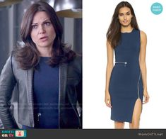 Regina's blue zipper dress and cropped leather jacket on Once Upon a Time.  Outfit Details: https://wornontv.net/53502/ #OUAT