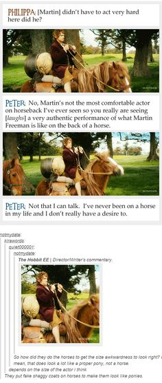 Martin Freeman on horseback ;) (About the last comment, they used a breed of Icelandic horses that have a unique look and gait)