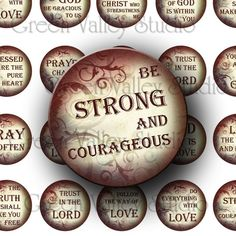 Digital Art Images Collage Sheet Religious Quotes Christ Love Inspirational Sayings Phrases One Inch Circles for Pendants Magnets (C88)
