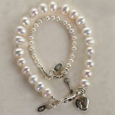 Mom and Me Key To Your Heart Bracelet Set, pearls and matching mother and daughter jewelry? We neeed this! Baby Jewelry, Jewelry Tags, Funky Jewelry, Pandora Jewelry, Wedding Jewelry, Unique Jewelry, Beaded Jewelry, Baby Bracelet, Heart Bracelet