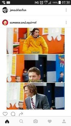 "When Jared forgot to call Jensen ""Dean"". I love Jensen's reaction"