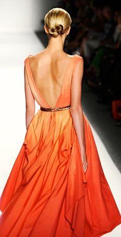 Pretty in Orange Ombre. Cute Fashion, Look Fashion, Runway Fashion, High Fashion, Fashion Beauty, Dress Fashion, 90s Fashion, Beautiful Gowns, Beautiful Outfits