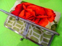 A vintage tablecloth clutch