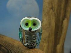 Flynn... lamwork owl bead... sra by DeniseAnnette on Etsy, $13.00