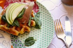 cheesy polenta waffle with apple, greens and prosciutto..mmmm