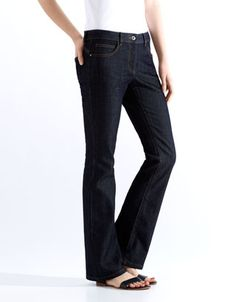 """A classic, straight cut, our Paloma long length bootcut jean has a slight flare for a silhouette-enhancing fit. With a zip and button fly; pockets; and belt-looped waist-band. Model wears UK 8/UK S/EU 36/US 4. Model height is 175 cm/5'9""""."""