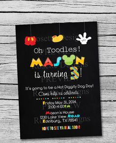 DIGITAL printable mickey mouse invitation  by Pixel Doodle Studio, $10.00