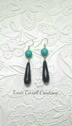 Turquoise howlite and black onyx earrings by Kristi Correll Creations.