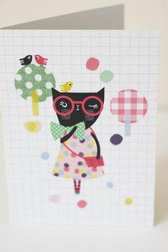 Cute Kitty- Greeting card- A6