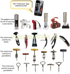 Different ages... different corkscrews. Look what amazing phone app your kids will use!