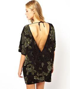 ASOS V Back Floral Embellished Dress