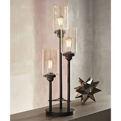 Libby 3-Light Industrial Console Lamp with Edison Bulbs - #Y9398 | Lamps Plus