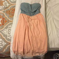 Dress Jean polka dot and peach dress Rue 21 Dresses Strapless