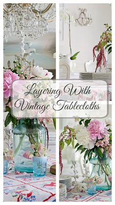 How to use vintage tablecloths for cottage style, shabby chic or farmhouse decorating