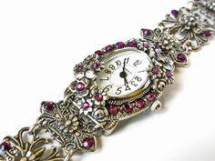 Silver Wrist Watch Swarovski Bracelet Crystal by LeBoudoirNoir