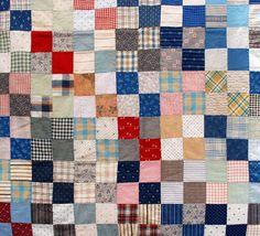 <3 1900's Antique 4 Patch Quilt Top
