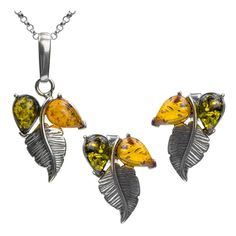 Multicolor Amber Sterling Silver Round Tassel Pendant