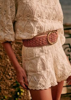 Fétiche Belt - Natural Raffia - Raffia - Sézane Style Parisienne, Black Brick, The Blushed Nudes, Brass Buckle, Navy And Green, Parisian Style, Cowhide Leather, Smooth Leather