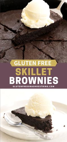 Dense and fudgy, gluten free skillet brownies are made in a cast iron skillet and baked just until set. For very good friends, serve the whole skillet with ice cream and lots of spoons. #GlutenFree #Dessert #Skillet #Brownies