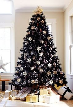 Black Christmas Tree with white and silver decorations