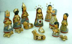 Vintage Mexican Nativity Set 14 Pcs Red Gold Southwest Style