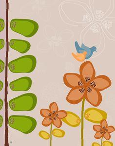 Birds on flower 2 Canvas Art