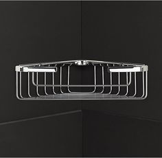 RH's Metro Corner Shower Basket Medium:Crafted of chrome-plated brass, our classic wire baskets offer strong, rust-resistant shower storage. The sleek wires allow moisture to drip away, and raised sides keep bottles and soap bars steady and in easy reach. Bathroom Hardware, Home Hardware, Wire Baskets, Storage Baskets, Shower Basket, Shower Storage, Home Furnishing Stores, Shower Accessories, Medicine Cabinet Mirror