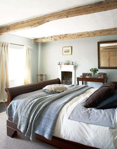 Modern Country Style: Case Study: Farrow and Ball Light Blue (Pt Click through for details. Farrow and Light Blue bedroom Bedroom Colors, Blue Bedroom Curtains, Bedroom Colour Schemes Warm, Beige Curtains, Blue Bedrooms, Bedroom Ideas, Dream Bedroom, Master Bedroom, Calm Bedroom