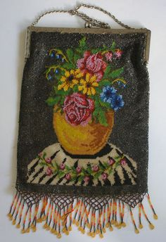 Antique Micro Beaded Floral Purse