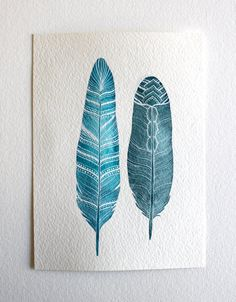 Feather Watercolor Art  Blue Spring Decor  Archival by RiverLuna, $20.00